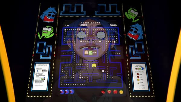 A look at 2-D playing Pac-Man in the video, courtesy of Gorillaz.