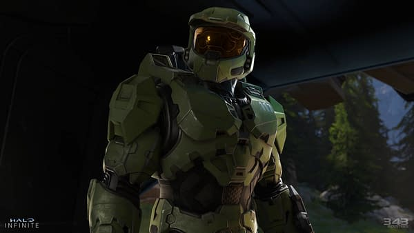 Master Chief, looking stoic, but missing red or blue. Courtesy of 343 Industries.
