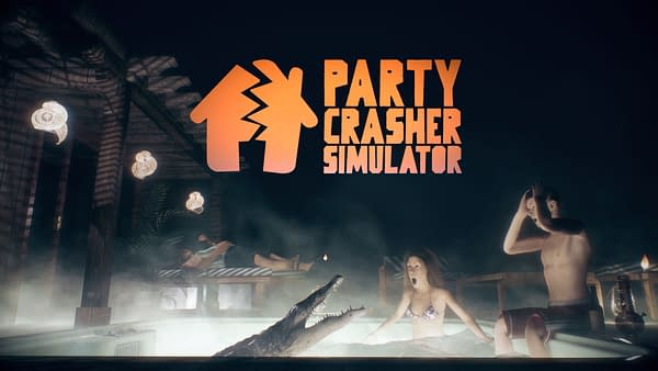 Key art for Party Crasher Simulator, an upcoming indie simulation game by Glob Games Studio.