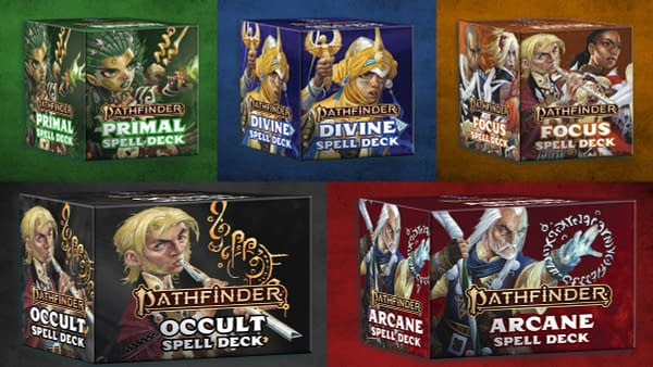 The five different Spell Decks for Paizo's famous role-playing game, Pathfinder. Pictured from top left to bottom right: Primal, Divine, Focus, Occult, and Arcane.