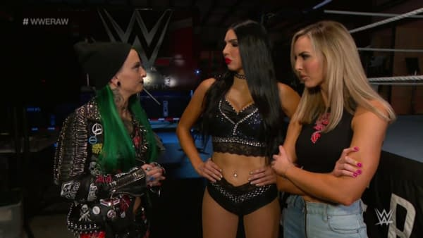 Ruby Soho (then Ruby Riott) appears on WWE Raw with the Iiconics. All three have since been fired.