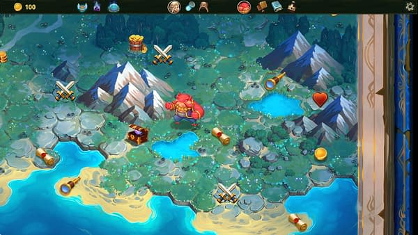 A screenshot from the roguelike deckbuilding indie game Roguebook, by Abrakam and Nacon. This screenshot depicts an overworld map of the region within the Roguebook's setting of Faeria.