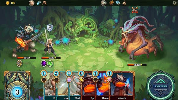 Another screenshot from the roguelike deckbuilding indie game Roguebook, by Abrakam and Nacon. This screenshot depicts a battle against a monstrous enemy.