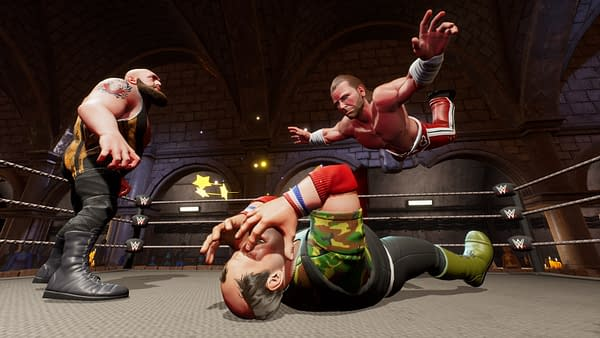 HBK dives onto Sgt. Slaughter as the Big Show watches... What year is this? Courtesy of 2K Games.