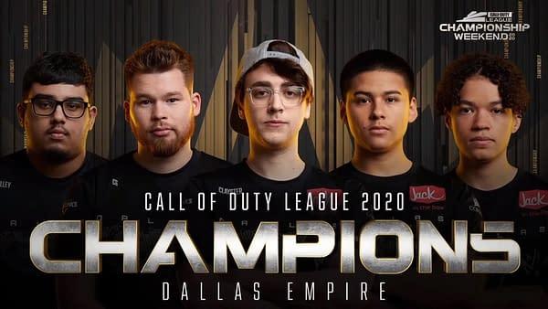 Your 2020 champions, the Dallas Empire, courtesy of Activision.