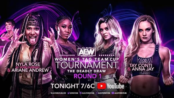 The match graphic for Nyla Rose and Ariane Andrew vs. Tay Conti and Anna Jay in the AEW Women's Tag Team Cup Tournament.