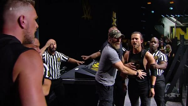 A scene from the main event of WWE NXT 8/5/2020.