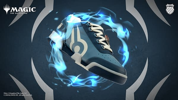 A K-Swiss branded sneaker with a design inspired by Magic: The Gathering's Jace Beleren, an illusionist and iconic Planeswalker character.