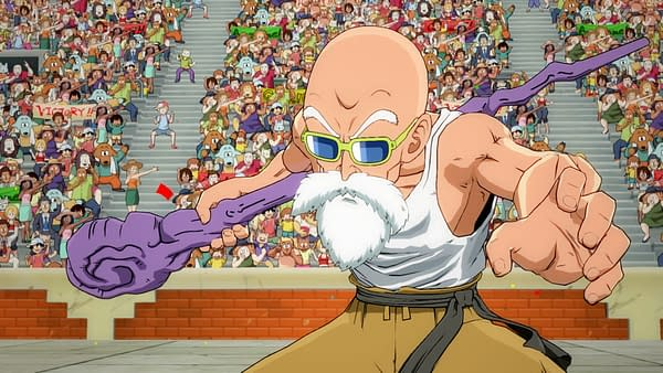 A slightly better look at Master Roshi in Dragon Ball FighterZ, courtesy of Bandai Namco.