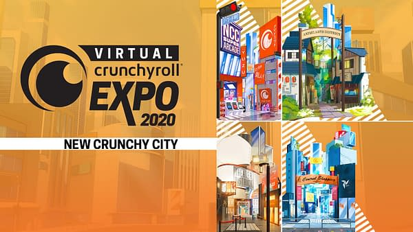 At Virtual CrunchyRoll Expo 2020, you can explore the many districts of New Crunchy City!