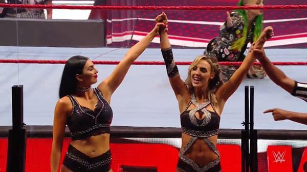The Iiconics celebrate on WWE Raw.