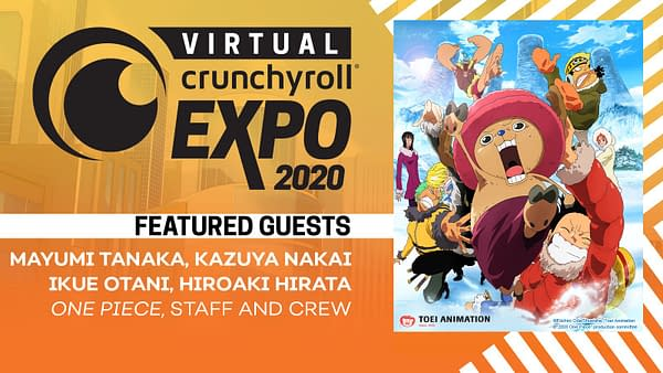 An image featuring the One Piece anime's staff and crew at Virtual CrunchyRoll Expo 2020.