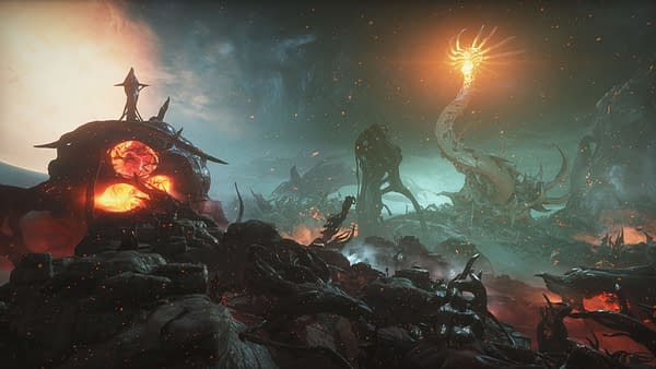 A look at one of the new open worlds in Warframe's Heart Of Deimos, courtesy of Digital Extremes.