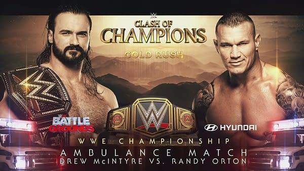 Randy Orton and current WWE Champion, Drew McIntyre, WWE Clash of the Champions key art (Image: WWE)
