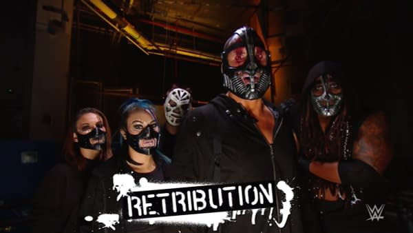 The Antifa-inspired anarchist stable known as Retribution have invaded WWE. While the names of the women have not been revealed, the men are, from left to right, Slapjack, T-Bar, and Mace.