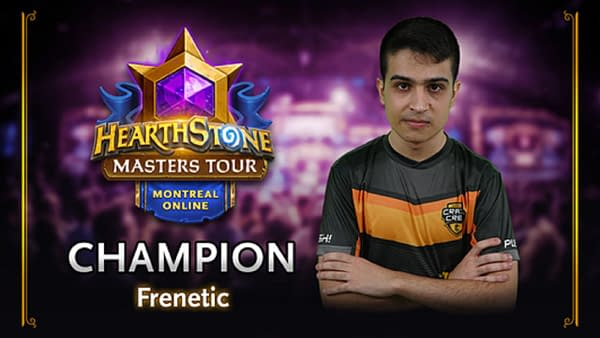 Frenetic walks away as the Hearthstone Masters Tour Online: Montreal champion, courtesy of Blizzard.