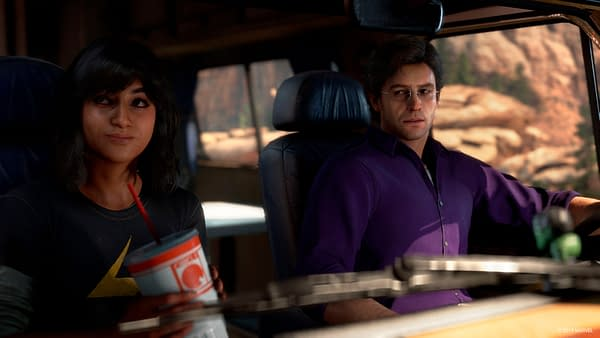 Kamala Khan and Bruce Banner on a road trip in Marvel's Avengers, courtesy of Square Enix.