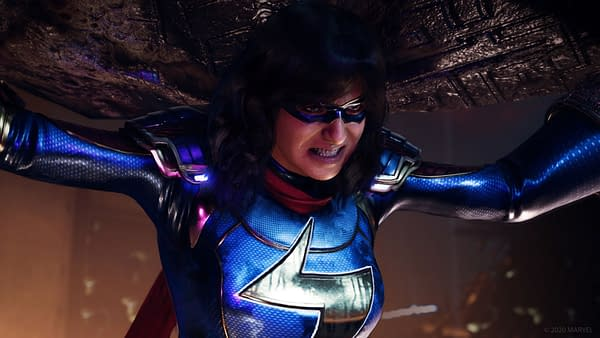 Kamala transforming into a real superhero in Marvel's Avengers, courtesy of Square Enix.
