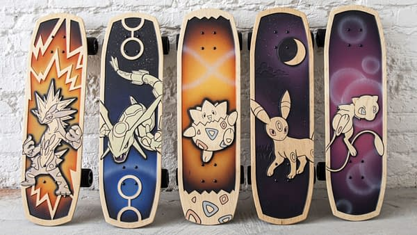 The Pokémon Company and Bear Walker show off new skateboards. Credit: Pokemon Center