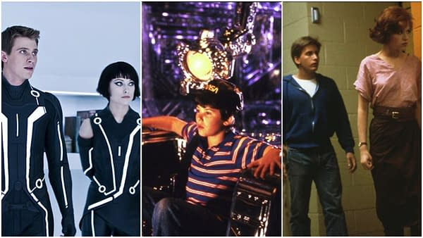 Garrett Hedlund and Olivia Wilde in Tron: Legacy (2010), Joey Cramer in Flight of the Navigator (1986), Emilio Estevez and Molly Ringwald in The Breakfast Club (1985). Images courtesy of Walt Disney Pictures and Universal Pictures