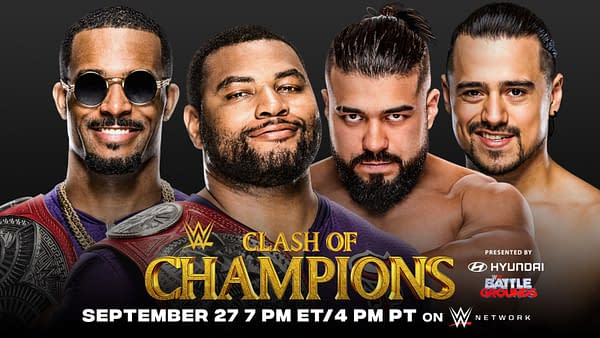 Andrade and Angel Garza vs the Street Profits, WWE Clash of the Champions key art (Image: WWE).