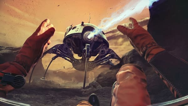An advancing spaceship isn't too pleased with this interloper in The Invincible. Courtesy of Starward Industries.