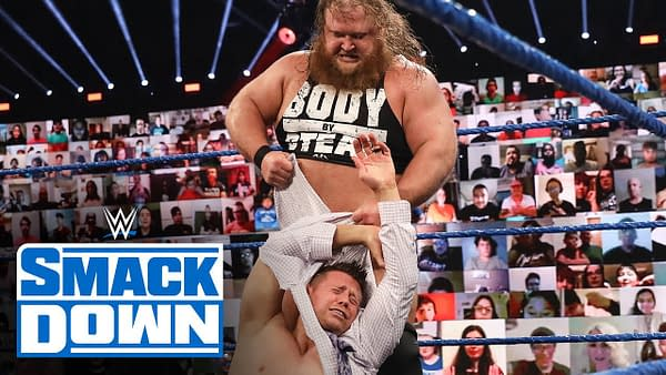 WWE Star THe Miz is accosted by a burly hillbilly on an episode of WWE Smackdown