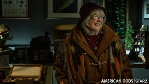 American Gods is wishing Julia Sweeney a happy birthday with a first look at her portrayal of Hinzelmann. (Image: STARZ)
