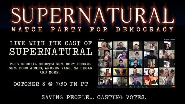 Supernatural is involved in a special watch party to help get out the vote (Image: Misha Collins)