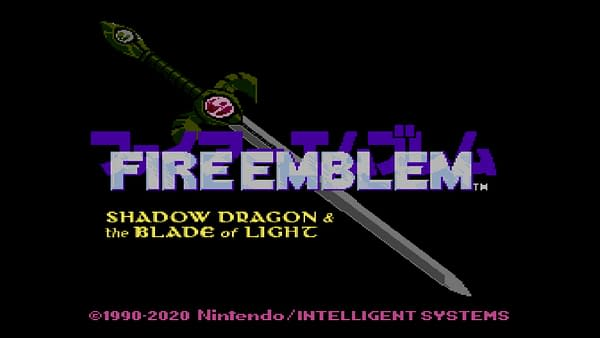 Title screen for Fire Emblem: Shadow Dragon & The Blade Of Light, courtesy of Nintendo.