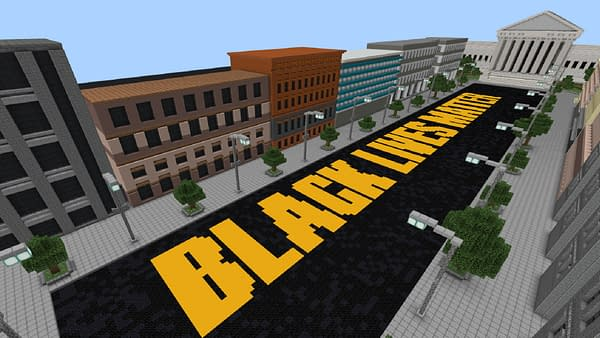 Black Lives Matter appearing in Minecraft, along with other prominent structures. Courtesy of Mojang.