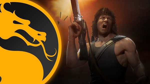Rambo looks psyched and also jacked beyond belief! Courtesy of WB Games.