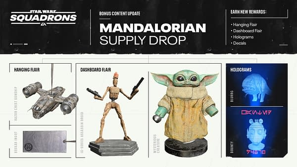 A look at all the items coming to Star Wars: Squadrons in the next DLC, courtesy of Electronic Arts.