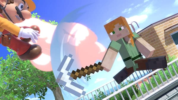 So a Minecraft pickaxe can whoop Mario's hammer? Hmmmm. Courtesy of Nintendo.
