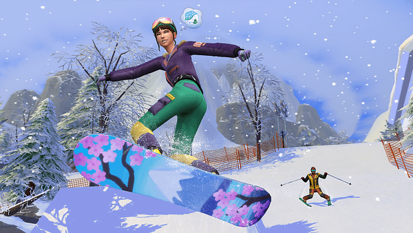 Now Sims can get injured on a snowy hill doing rich people sports. Courtesy of Electronic Arts.