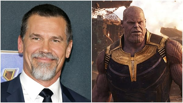 L-R: Josh Brolin at the World premiere of 'Avengers: Endgame' held at the LA Convention Center in Los Angeles, USA on April 22, 2019. Editorial credit: Tinseltown / Shutterstock.com | Thanos in Avengers: Infinity War. Credit: Marvel