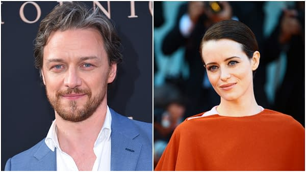 L-R: James McAvoy arrives for the 'Dark Phoenix' Global Premiere on June 04, 2019 in Hollywood, CA. Editorial credit: DFree / Shutterstock.com | Claire Foy walks the red carpet of the 'First Man' screening during the 75th Venice Film Festival on August 29, 2018 in Venice, Italy. Editorial credit: Matteo Chinellato / Shutterstock.com