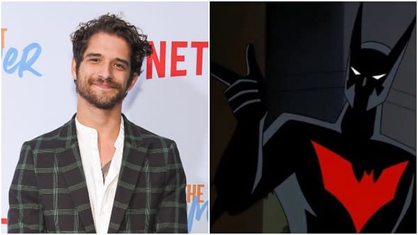 L-R: Tyler Posey arrives for the Netflix 'The Last Summer' Premiere on April 29, 2019 in Hollywood, CA. Editorial credit: DFree / Shutterstock.com \ A still from Batman Beyond (1999). Credit: Warner Bros. Animation