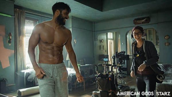 American Gods star Ricky Whittle on set. (Image: STARZ)