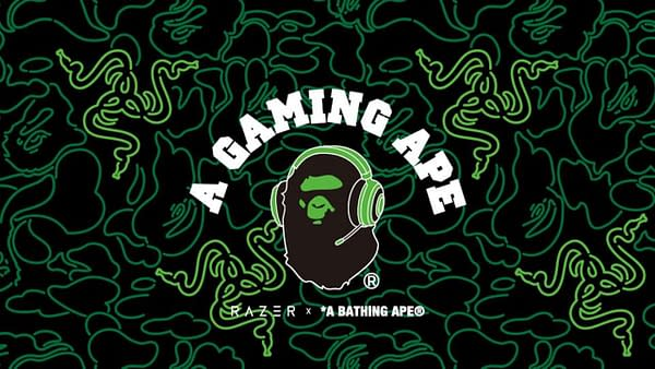 A look at the new BAPE/Razer logo for this set of gaming gear choices.