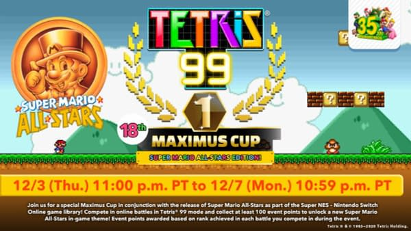 Another event for Tetris 99 and for Super Mario Bros. 35th Anniversary. Courtesy of Nintendo.