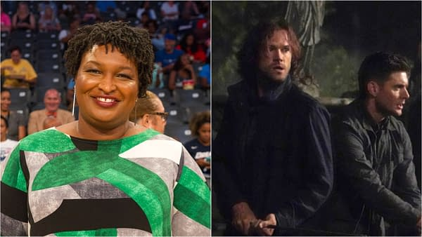 Supernatural is a big fan of Stacey Abrams, too (Images: Jamie Lamor Thompson-Shutterstock.com / The CW)