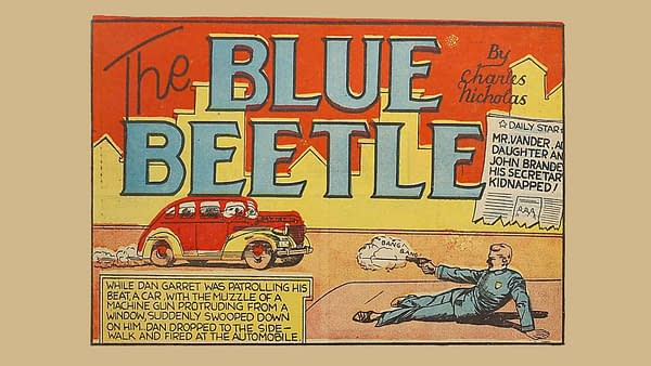 Mystery Men #1, 1939, Fox Features Syndicate, Blue Beetle title panel.