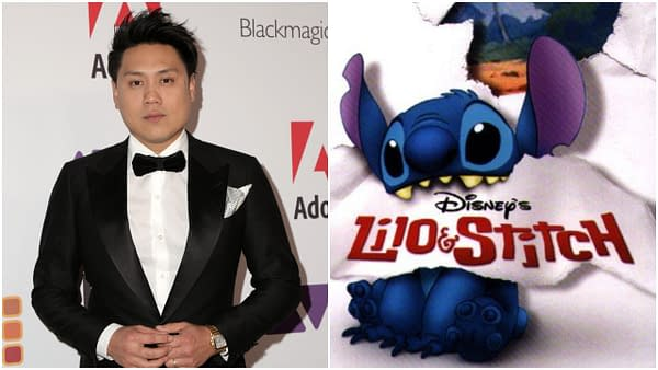 L-R: John M Chu at the 69th Annual ACE Eddie Awards at the Beverly Hilton Hotel on February 1, 2019 in Beverly Hills, CA. Editorial credit: Kathy Hutchins / Shutterstock.com | An official poster for Lilo & Stitch. Credit: Disney