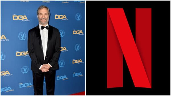 L-R: Judd Apatow at the 72nd Annual Directors Guild Awards at the Ritz-Carlton Hotel. Editorial credit: Featureflash Photo Agency / Shutterstock.com | The Netflix logo. Credit: Netflix
