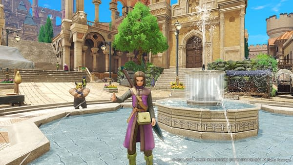 A look at the hero standing in a fountain within the game, courtesy of Square Enix.