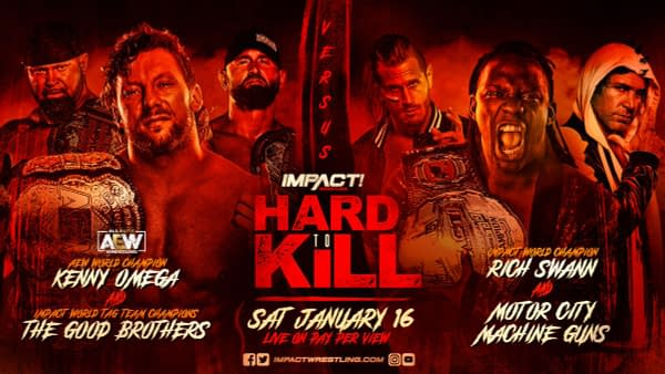 Kenny Omega and the Good Brothers will face Rich Swann and the Motor City Machine Guns at Impact Wrestling Hard to Kill on January 16th