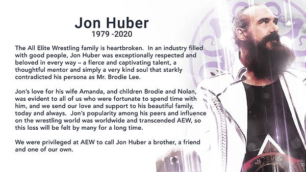AEW Superstar Jon Huber aka Brodie Lee has passed away. (Image: screencap)