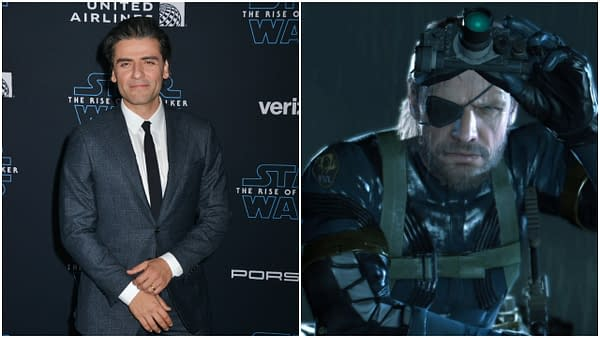 """L-R: Oscar Isaac arrives at the premiere of Disney's """"Star Wars: The Rise Of The Skywalker"""" on December 16, 2019 in Hollywood, California. Editorial credit: Tsuni-USA / Shutterstock.com   A shot from Metal Gear Solid 5. Credit: Sony Metal Gear Solid"""