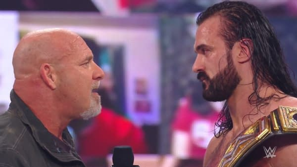 Goldberg challenges Drew McIntre over a promo McIntyre never actually cut on WWE Raw.